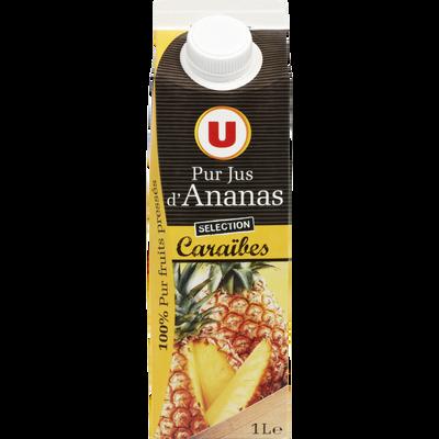 Pur jus d'ananas des Caraïbes U, brique de 1l
