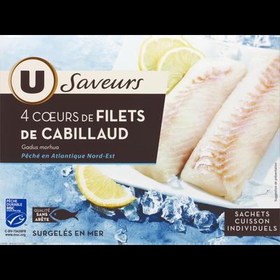 Coeur de filet de cabillaud pêché en océan Atlantique U SAVEURS, 540g