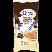 Pancakes fourrage goût chocolat noisette mat & lou U, 6 unités soit 270g