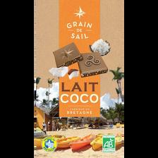Tablette de Chocolat au lait coco Bio GRAIN DE SAIL, 100g