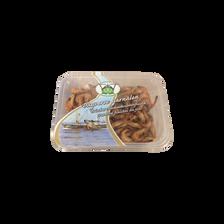 Grosse crevette grise, Crangon crangon, entière cuite, Pays-Bas, pêchée en Atlantique Nord Est, barquette 200g