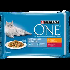 ONE CHAT pour chat adulte spécial stérilisé boeuf, poulet, 4 sachets fraîcheur de 85g