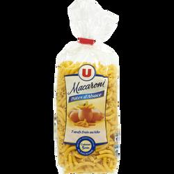 Pâtes aux oeufs macaroni IGP d'Alsace U, sachet de 250g