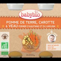 Pot pomme de terre carotte veau BABYBIO, dès 8 mois, 2x200g soit 400g