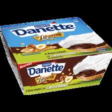 Le Liégeois au chocolat sur lit croquant de noisette DANETTE, 4x100g