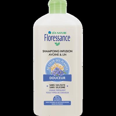 Shampooing infusion lin & avoine douceur FLORESSANCE, flacon de 500ml