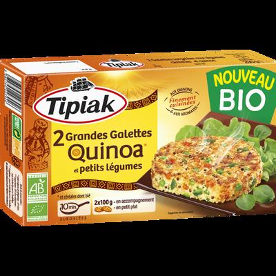 Grandes galettes de quinoa et petits légumes bio TIPIAK, 2x100g