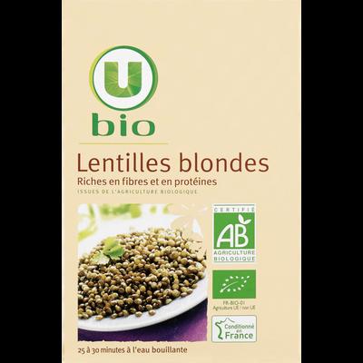 Lentilles blondes U BIO, boîte de 500g