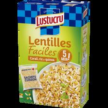 Lentilles faciles corail riz quinoa LUSTUCRU, 2x150g, 300g