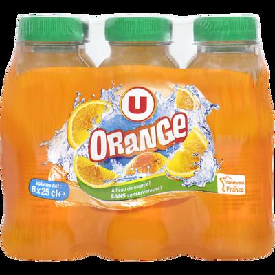 Boisson aux jus de fruits à base de concentrés, aromatisée orange 6x25cl