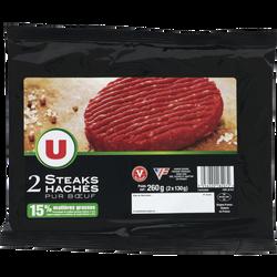 Steak haché, 15% MAT.GR., U, France, 2 pièces, 260g