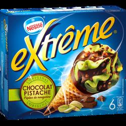Cône glacé chocolat pistache EXTRÊME, x6 soit 426g