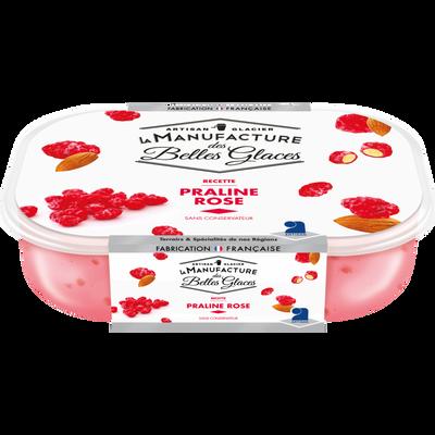 Crème glacée praline rose LA MANUFACTURE DES BELLES GLACES, bac de 488g