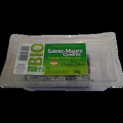 Sainte Maure cendrée bio au lait pasteurisé chèvre Chêne vert, 17%MG,180g