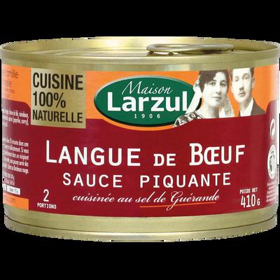 Langue de boeuf sauce piquante MAISON LARZUL, boîte de 410g