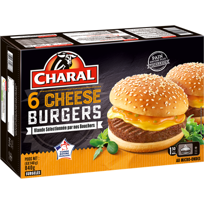 Cheeseburger CHARAL, 6x140g.Origine de la viande : France