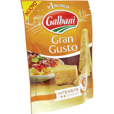 Mélange de fromages à pâtes dure râpés Grangusto pasteurisé 25% de MGGALBANI, sachet de 60g