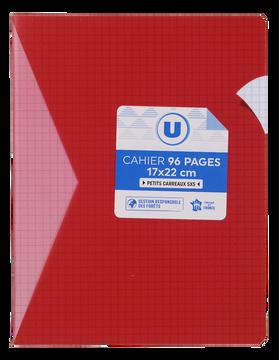 Pagès Cahier Piqûre Polypro U, 17x22cm, Petits Carreaux 5x5, 90g 96p Rouge