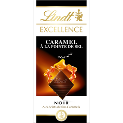 Chocolat noir 70% de caramel à la pointe de sel excellence LINDT, tablette de 100g