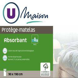 PROTEGE MATELAS 160X200CM MOLLETON ABSORBANT COTON ISSU DE L'AGRICULTURE BIOLOGIQUE BONNET 27CM
