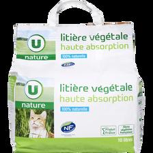 Litière végétale pour char haute absorption U NATURE, sac de 10 litres