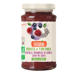 Fruits à tartiner myrtille framboise chia VITABIO, pot 290g