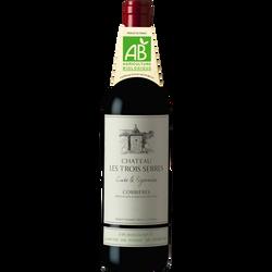 Vin rouge AOP Corbières bio Château les 3 Serres, bouteille de 75cl