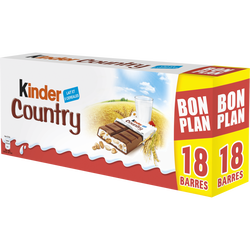 Barre chocolat country KINDER, 2x212g