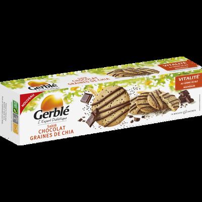 Biscuits sablés au chocolat et aux graines de chia GERBLE, 156g