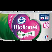 Papier toilette sans tube uni Lotus MOLTONEL, 6 rouleaux