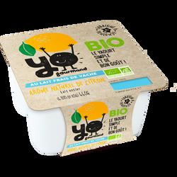 Yaourt sucré au lait entier frais bio au citron YOGOURMAND, 4x115g