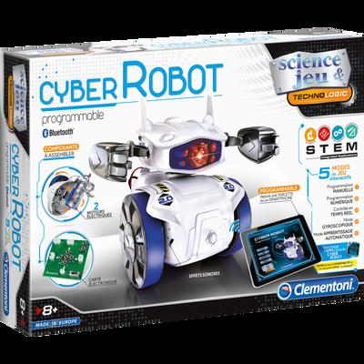Mon cyber robot CLEMENTONI, coffret avec robot à monter soi-même,équipé d'un module bluetooth et de 4 modes de jeux, appli gratuite àtélécharger, 4 piles LR6 non incluses
