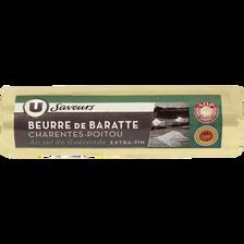 Beurre de baratte AOP de Charente Poitou au sel de Guérande U SAVEURS,80% de MG, 250g