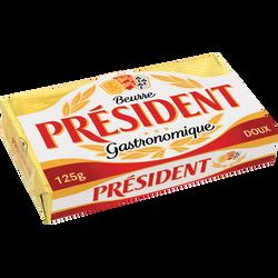 Beurre doux PRESIDENT, 82% de MG,  plaquette de 125g