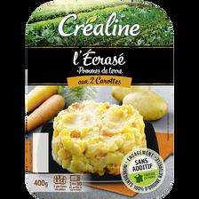 Ecrasé de pommes de terre aux 2 carottes, CREALINE, barquette 2 x 200g