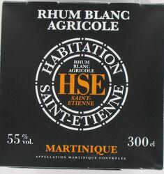 Rhum blanc agricole AOC de Martinique HSE, 55°, bib de 3l