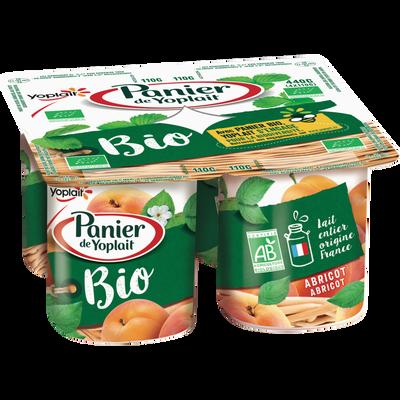Yaourt bio sucré aromatisé aux abricots PANIER DE YOPLAIT, 4x110g
