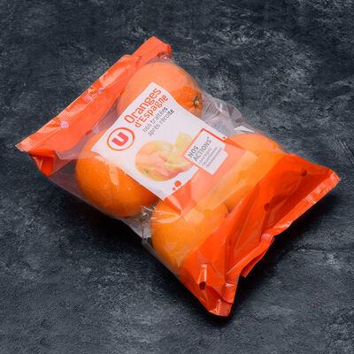 Orange Navel late, U, calibre 4, catégorie 1, non traitée aprèsrécolte, Espagne, barquette 4 pièces