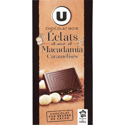 Tablette de chocolat noir aux éclats de noix de macadamia U, 100g