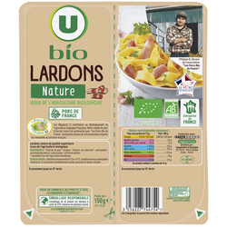 Lardons nature VPF U BIO, 2x75g 150g