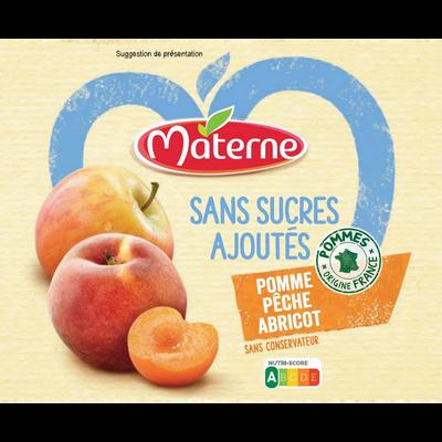 Dessert fruits sans sucre ajouté pomme pêche abricot MATERNE, 4x97g