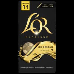 Café moulu en capsules Or Absolu L'OR EXPRESSO, x11 soit 57g