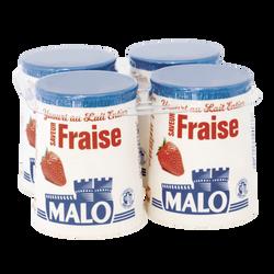 Yaourt au lait entier arômatisé fraise, MALO, 4x125g