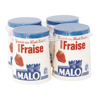 Yaourt au lait entier arômatisé fraise, MALO, pot, carton, 4x125g