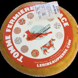 """Tomme ferm.d'Alsace au lait pasteurisé tom/olive""""LE RIBEAUPIERRE"""" 28%MG"""