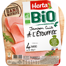 Jambon cuit à l'étouffée bio conservation sans nitrite HERTA, 4 tranches 120g