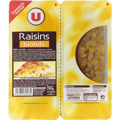 Raisin Golden, U, calibre 200/225, barquette sécable 250g