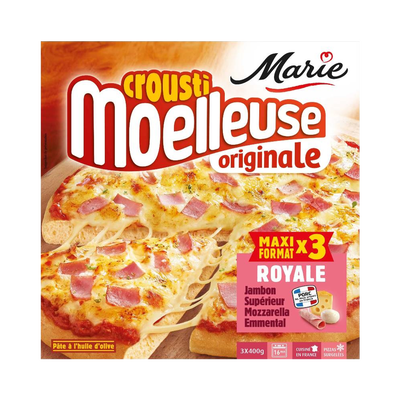 Pizza crousti-moelleuse jambon fumé mozzarella et emmental MARIE, x3 soit 1,2 kg