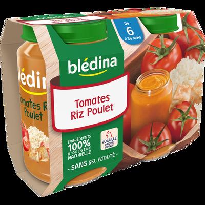 Petits pots pour bébé au tomate riz poulet dès 6 mois BLEDINA, 2x200g