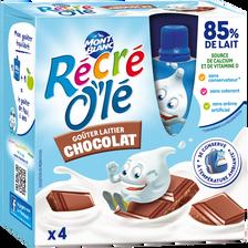 """Goûter laitier parfum chocolat """"Récré Olé"""" MONT BLANC, 4x85g"""